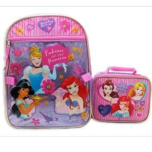 NWT Girl's Disney Princess Backpack & Lunch Box